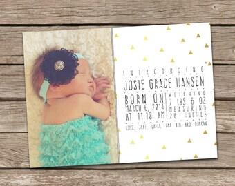 Photo Birth Announcement : Josie Modern Printable Custom Aztec Tribal Triangles Girl Baby Announcement