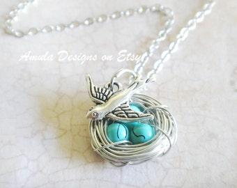 Blue Robins Detailed Egg Bird Nest Necklace
