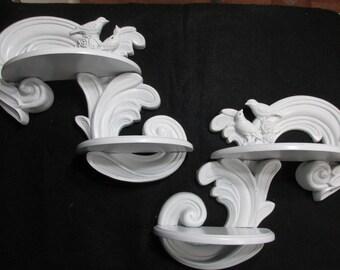 Decorative Wall Shelf Set of 2 with Swirls and Birds