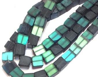 Blue fire inside labradorite doppleganger aura quartz frosted rough cube stones