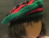 Red,  Black and Green Acrylic Beret