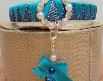 Cat Collar Blue Sparkle Ribbon and Pretty Shamballa Bead Charm