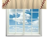 Custom Window Curtain or Valance, Stitched Baseball Theme Vintage Color Featured- Any Size - Any Colors - Any Pattern