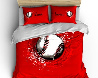 Custom Red Baseball Bedding