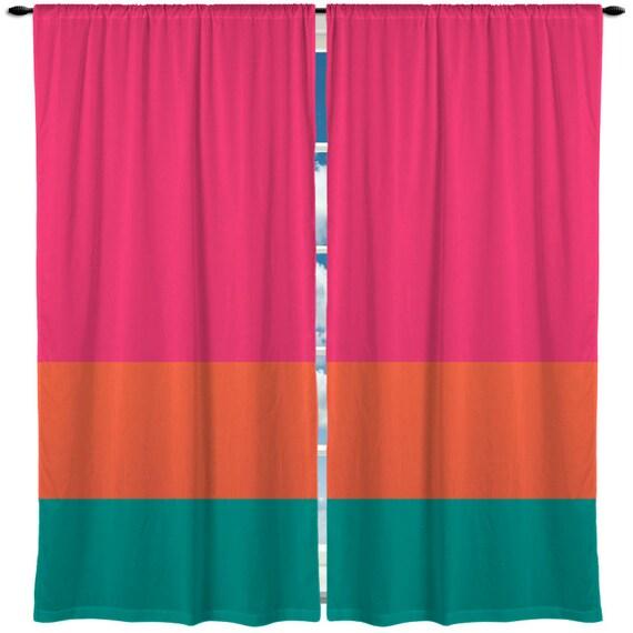 Custom Window Curtain Color Block Horizontal Stripe By Redbeauty