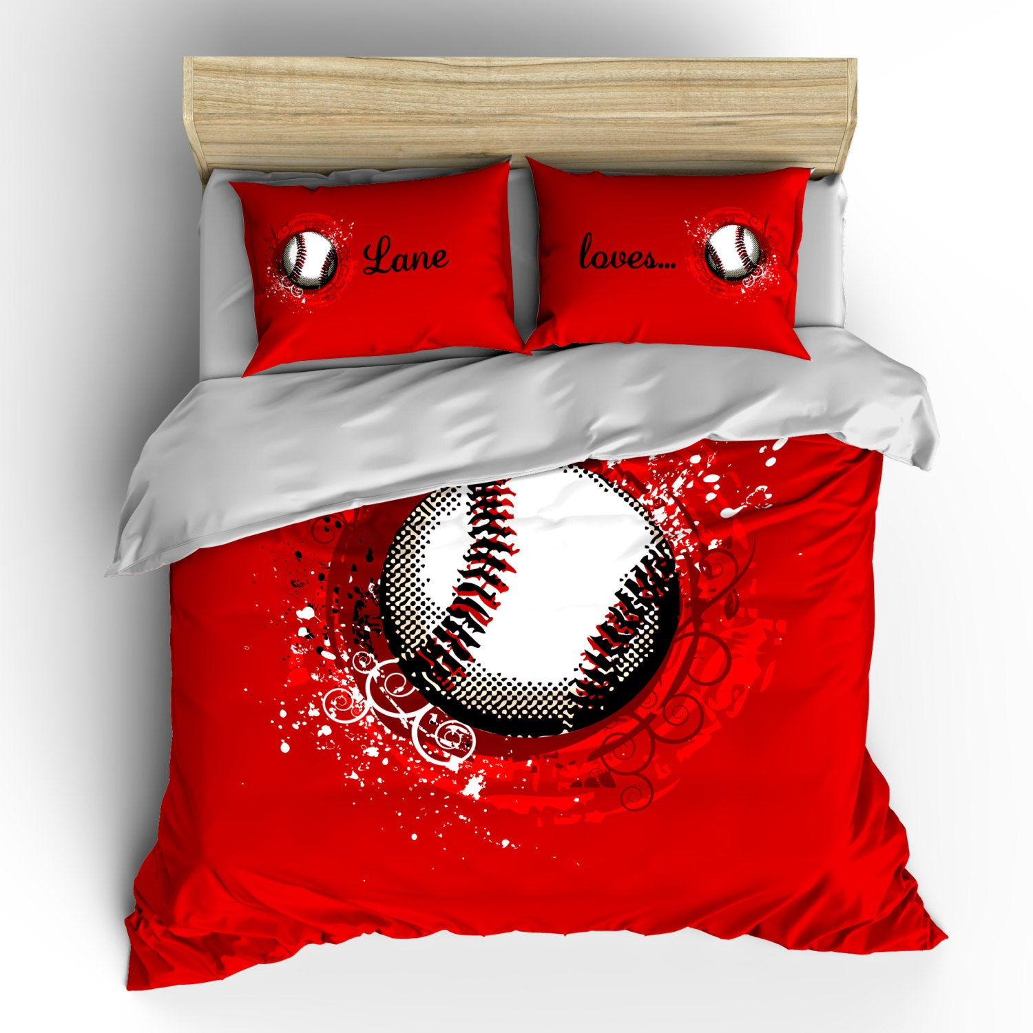 Custom Red Baseball Bedding W Pillow Covers Personalized