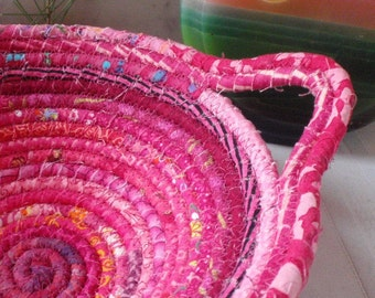 Bright Pink Gypsy - Round Coiled Bohemian Basket, Catchall for Your Cellphone, Change, Keys - Handmade by Me