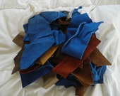 Price Lowered on Suede Leather Scrap Pieces for Your Crafting Projects.Browns and Blues.