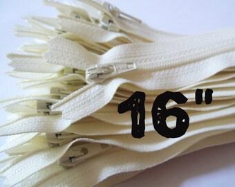 16 Inch vanilla YKK zippers, Ten pcs, ivory, off white, YKK color 121, dress, all-purpose, sewing supplies