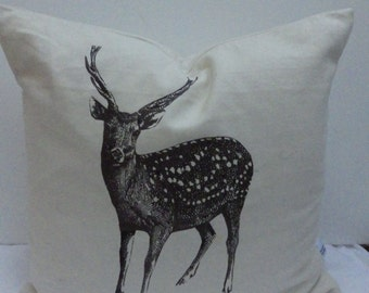 Cream Reindeer Large Christmas Cushion Cover
