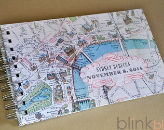guest book with old London map cover and custom date