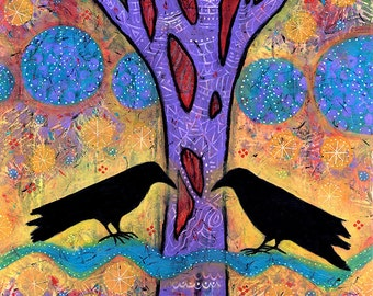 Raven Gallery Wrapped Canvas Print. Two Ravens Sit & Reflect on Life. Bird Wall Art. Purple Raven Print. Gifts for Women. Anniversary Art.