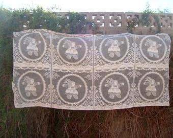 Vintage 1980s Cabbage Patch Style Doll Cream Lace Panels 8 Uncut