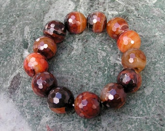 Faceted Agate Round Bead Bracelet on Stretch Cord