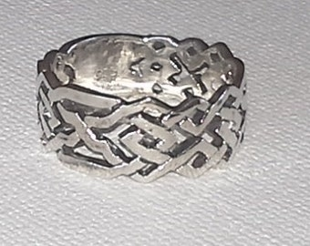 Celtic Style Sterling Silver Band Ring