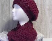 Red Violet Slouchy Cluster Beanie and Scarf Set - one size fits all women - ready to ship