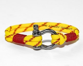 Nautical Paracord Bracelet with Shackle - Fast Pitch and Red - Neon Yellow