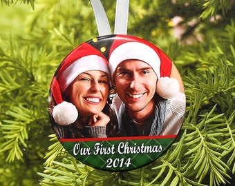 Our First Christmas Ornament - customized with your photo - Green Bottom C06