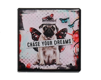 Chase Your Dreams - Pinback Button Badge 2 inch - Dog with Wings