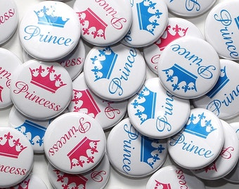 """100 Baby Shower 1"""" Pinbacks - Prince & Princess White - Gender Reveal Party Favors"""