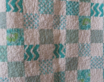 Baby Quilt Teal Chevron Crib Quilt Frozen colors Polka Dots