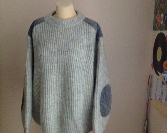 80s Chunky Sweater Slouchy Sweater Wool Mens Womens L Large