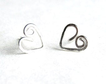 Sterling Silver Swirly Heart Studs. Hand Hammered Heart Post Style Earrings