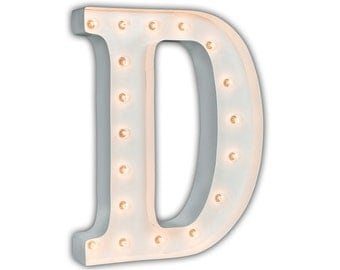 "SALE - Light Up Letter D - WHITE - 24"" Vintage Marquee Lights-The Original!"