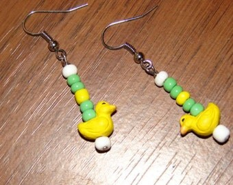 Duck Earrings UofO Themed Yellow Green Oregon Baby Ducks