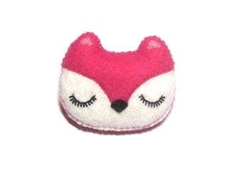 Fox Brooch - Felt Animal Accessory- Woodland Animal Cute Plush Pin Brooch - Pink Fox - Woodland Jewelry - Mothers Day Gift