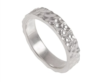 Craters Mens Wedding Band- Made to order in your size, material and dimensions