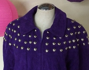 1980s 1990s Vintage Suede Jacket -  Flashy Purple Leather Jacket Silver Studs - Suede Coat Jacket - Studded Jacket - Plus Size - 48 Bust