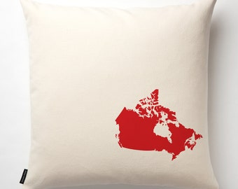 Map of Canada Pillow in Off White with fill