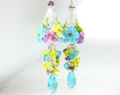 Colorful Pastel Floral Earrings, Crystal Dangle Earrings, Cottage Chic Jewelry, Turquoise Blue Yellow Purple Lampwork Glass Earrings, Nature