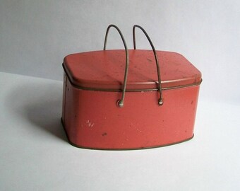 Antique Lunch Pail ~ Red Lunch Tin ~ Vintage Lunch Box