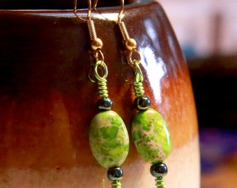 Green Grass Earrings