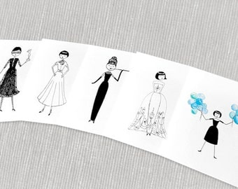 Audrey Hepburn stationery // 5 note cards
