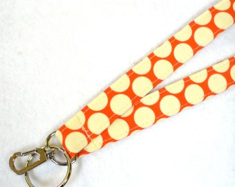 Polka Dot Amy Butler Fabric Lanyard Badge Holder Breakaway Lanyard Designer Fabric ID Clip Key Ring Fob Full Moon Dot Cherry Red MTO
