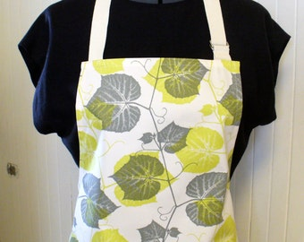 CLEARANCE SALE Chartreuse Green Gray Leaves Womens Apron Full Apron Chefs Apron Adjustable Apron Ty Pennington Handmade