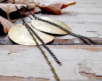 Full Moon Eclipse - Textured Brass Circle Moon Earrings - Artisan Metalwork Earrings