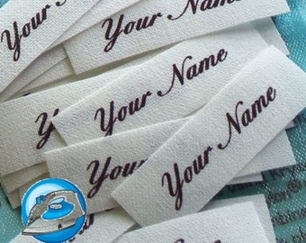 """Qty 85 Custom Fabric Labels - Personalized Labels - Iron On Labels - Cotton Labels -  1/2"""" x 1"""""""