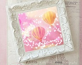 Shabby Chic Decor, Pink Yellow Hot Air Balloons Art, Carnival Balloons Nursery Decor, Carnival Balloons Shabby Chic Frame, Hot Air Balloons
