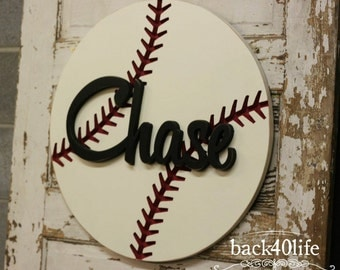 The Chase- Engraved Baseball with Name or Initial Cutout Carved Wood Sign (K-040)