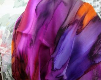Scarf, Silk, Women, Hand Dyed, Silk Scarf, Plum, Orchid, Orange, Fuchsia