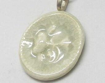 Blue Gray Thistle Picture Button Porcelain Necklace