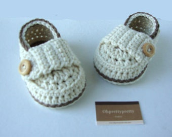 Baby booties shoes little loafers,cream and chocolate with gift box