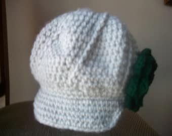Sale Irish Girls newsboy hat with dark green flower and button Size 2T  Ready to Ship
