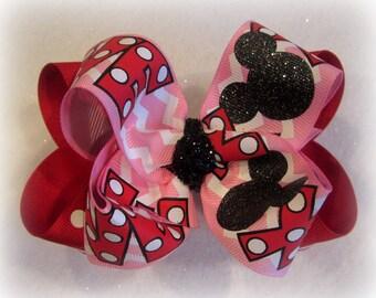 Minnie Mouse Valentine Bows, LOVE Hair Bow, Double Layered Hair Bows, Valentines Day bow, Minnie Headband, Minnie Mouse Bow, Chevron bow
