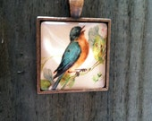 "Spring Robin Glass Dome Pendant Tray Necklace 24"" Ball Chain Antique Copper Finish"