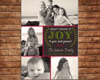 Photo Picture Christmas Holiday Card 4 photos wreath Joy elegant - Digital File